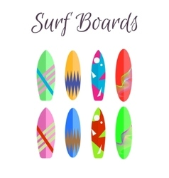 Surfboard colorful set surfing boards vector