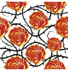 Red and golden roses seamless pattern vector