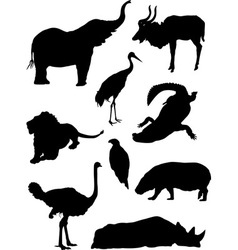 Zoo animals silhouette vector