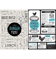 Menu cafe restaurant template placemat food board vector