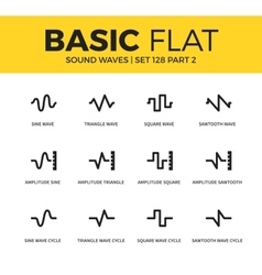Basic set of sound waves icons vector