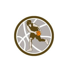 Basketball Player Dribbling Ball Circle Retro vector image vector image