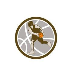 Basketball player dribbling ball circle retro vector