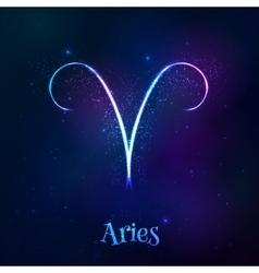 Blue shining cosmic neon zodiac aries symbol vector