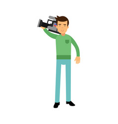 cameraman character standing and holding vector image