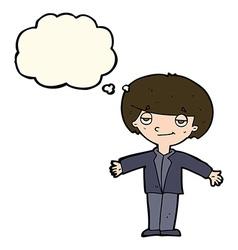 Cartoon smug boy with thought bubble vector