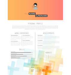 Creative cv template with plus signs vector