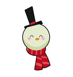 Cute face snowman with hat and scarf vector