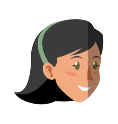 Face woman head smile hai vector