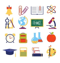 flat school icons vector image vector image