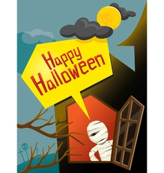 Halloween mummy and window vector