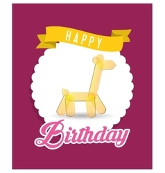 Happy birthday card with yellow giraffe balloon vector
