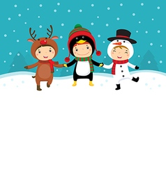 Happy kids in Christmas costumes playing with snow vector image