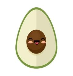 Kawaii cute avocado funny icon vector