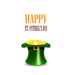Leprechaun hat filled with gold saint patricks vector