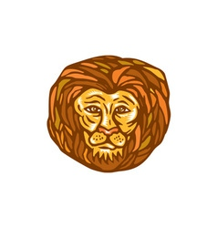 Lion head woodcut linocut vector