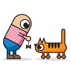 man and cat vector image vector image
