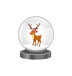 modern snow globe with reindeer vector image