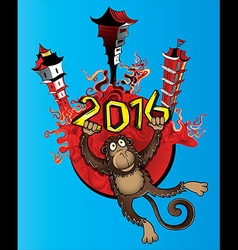Monkey mascot chinese city background vector image vector image