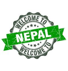 Nepal round ribbon seal vector