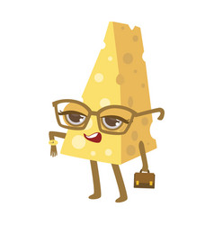 piece of cheese with watch glasses and suitcase vector image vector image