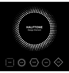 Set of White Abstract Halftone Shapes vector image