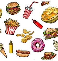 Sketch hand drawn fast food seamless pattern on vector