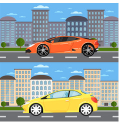Sport car and universal car in urban landscape vector