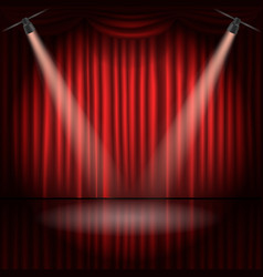 Stage curtains with spot light vector