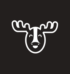 stylish black and white icon canadian moose vector image
