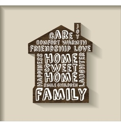 Sweet home wood plate with sign object vector