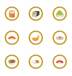 Traditional japan meal icons set cartoon style vector