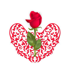 valentines day card with red rose and heart vector image vector image