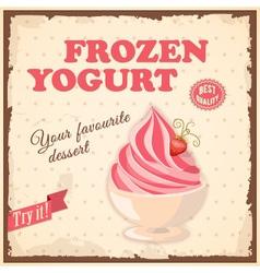 vintage banner frozen yogurt vector image vector image
