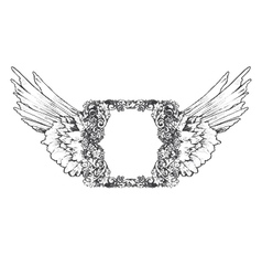 vintage frame with wings vector image vector image