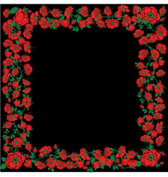 With Red Rose Floral Frame Decorations On Black vector image vector image