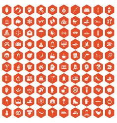 100 joy icons hexagon orange vector image vector image