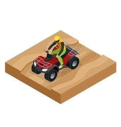 Atv rider in the action quad bike atv isometric vector
