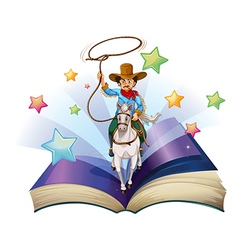 An open book with an image of a cowboy riding on a vector image