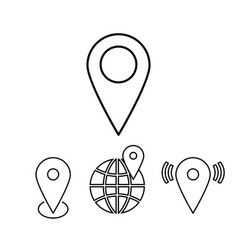 set of outline map pointers linear vector image