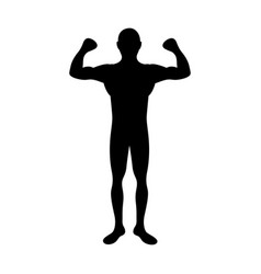 Black silhouette muscle man fitness vector