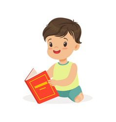 little boy sitting on the floor and reading a book vector image