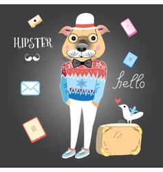 Hipster dog vector