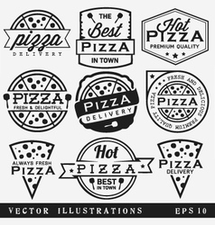 Pizza labels and badges in vintage style vector
