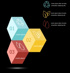 Design 3d box infographic on black background vector