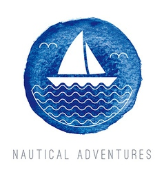Watercolor nautical logo with a sailboat vector