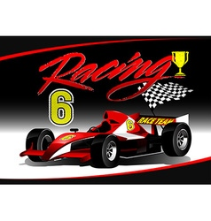 Red open wheel racing car with trophy vector