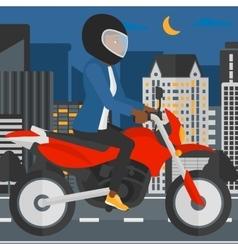 Woman riding motorcycle vector