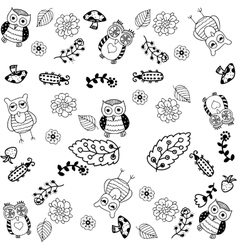 hand drawn owl doodle art vector image