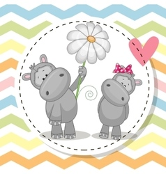 Greeting card with two hippos vector